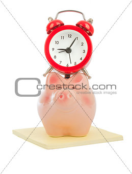 Alarm clock on piggy bank