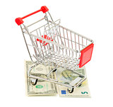 Shopping cart on money