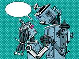 couple robots man woman love