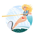 Beautiful waterskier girl on water ski
