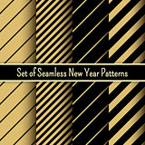 Set of black and gold seamless New Year party patterns