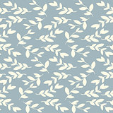 Vector seamless floral vintage pattern with leaves and branches