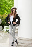 fashion woman with trendy casual clothes