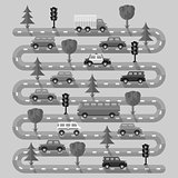 Highway with vehicles. Flat design