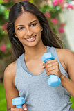 Indian Asian Young Woman Girl Exercising With Weights