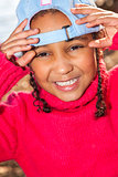 Mixed Race African American Girl Wearing Baseball Cap