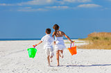 Children, Boy Girl Brother Sister Running Playing on Beach