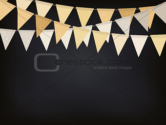 Background with golden flag garlands