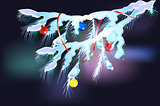Snowy fir branches with balls and ribbon. EPS10 vector illustration