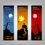 Halloween night banner with pumpkins template