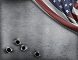 metal background with bullet holes and USA flag