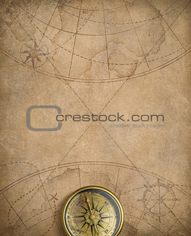 old nautical map with compass