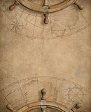 old nautical map with steering wheels
