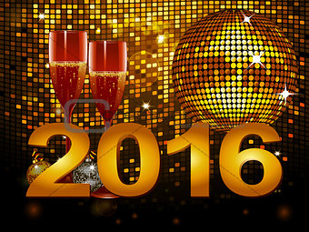 2016 New Year background with champagne glass and disco ball