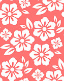 Seamless spring flower pattern on red background