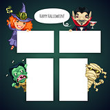 Set of Cartoon Halloween Characters Behind a White Empty Sheet