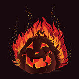 Halloween pumpkin in flames