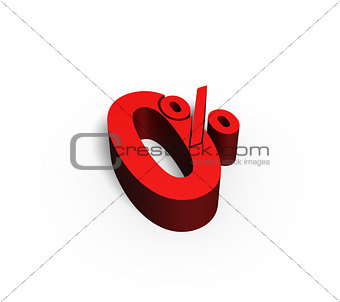 0% Red Color 3D Rendered Text for Discount Sale Promotions