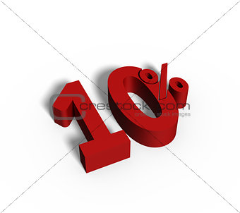 10% Red Color 3D Rendered Text for Discount Sale Promotions