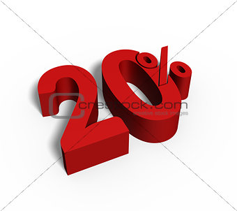 20% Red Color 3D Rendered Text for Discount Sale Promotions