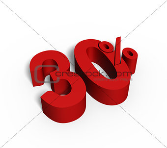 30% Red Color 3D Rendered Text for Discount Sale Promotions