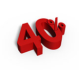40% Red Color 3D Rendered Text for Discount Sale Promotions