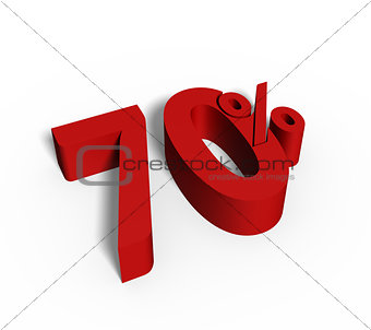 70% Red Color 3D Rendered Text for Discount Sale Promotions