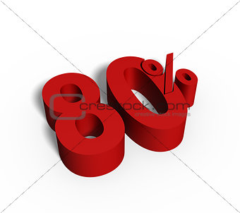 80% Red Color 3D Rendered Text for Discount Sale Promotions