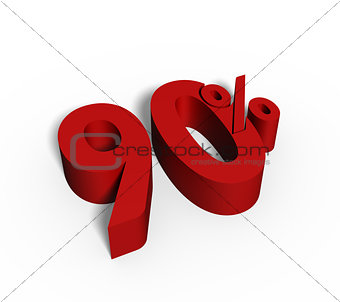 90% Red Color 3D Rendered Text for Discount Sale Promotions