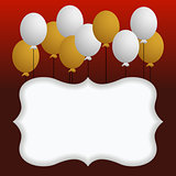 Background with blank banner and balloons