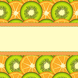 Orange and kiwi slice background with blank banner