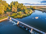 river diversion dam - aerial view