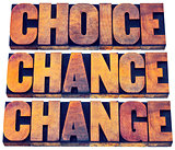 choice, chance and change word abstract