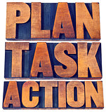 plan, task, action word abstract