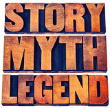 story, myth, legend word abstract