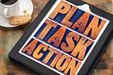plan, task, action words on tablet