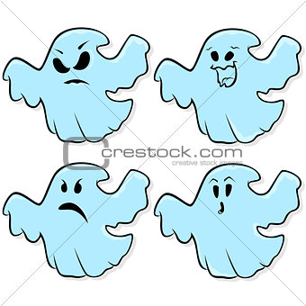Four ghosts isolated on a white background