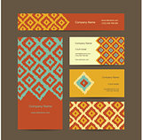 Business cards design, geometric fabric pattern