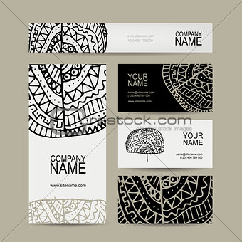 Business cards collection, ethnic ornament for your design