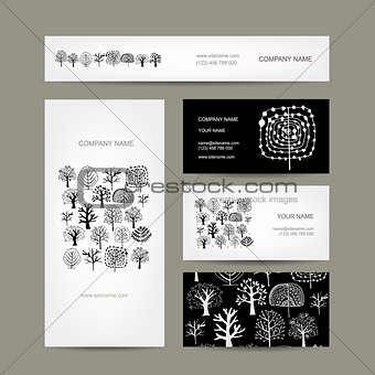 Business cards design, art trees