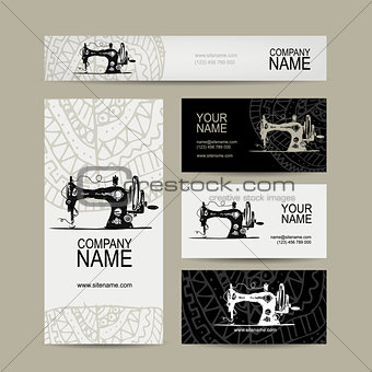 Business cards design, sewing maschine sketch
