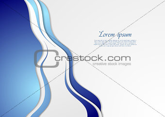 Bright blue abstract waves vector background