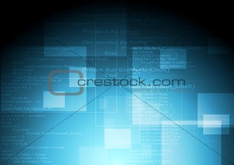 Abstract blue tech vector background with code