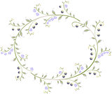 Frame in the shape of an ellipse of berries and flowers. EPS10 vector illustration