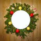 Christmas Decoration Round Frame, vintage