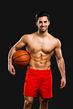 Handsome basketball player