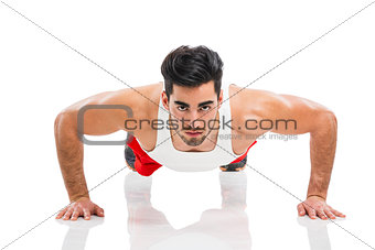 Athletic man doing push-up