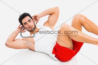 Athletic man doing ABS
