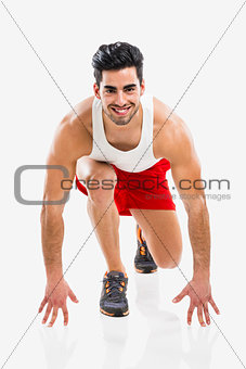 Athletic man ready to run