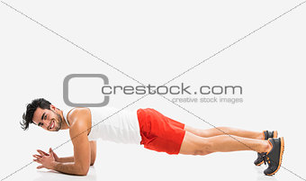 Athletic man doing push-up